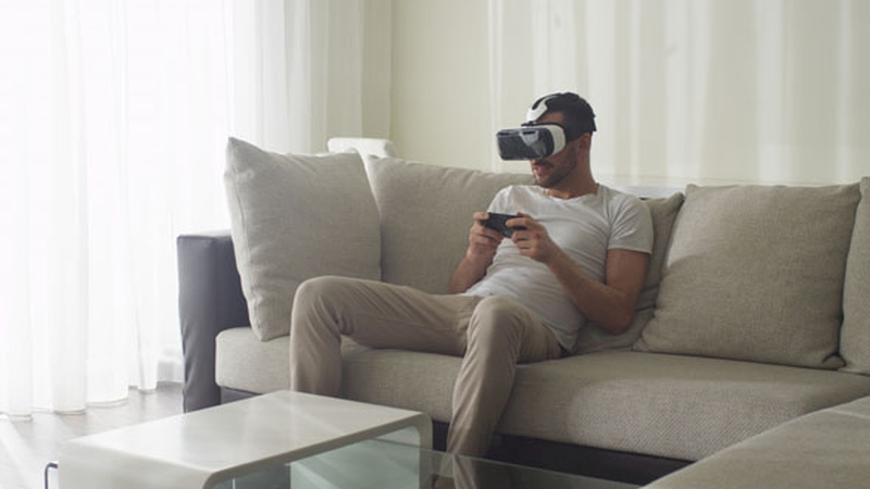 vr man in living room in the future