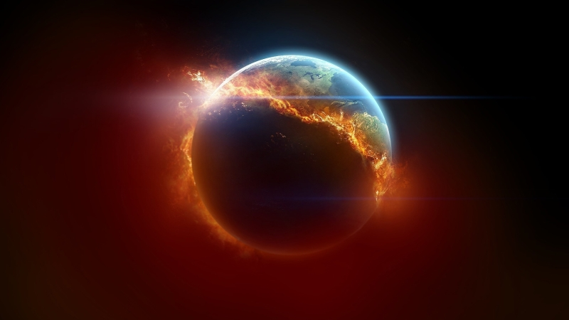 earth burning up due to acceleration through space